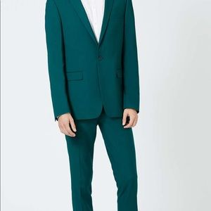 Teal Twill Ultra Skinny Fit Suit and Pants Combo